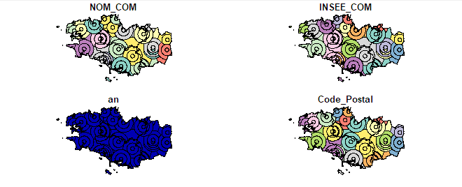 maps of Brittany (France) made with R and sf package