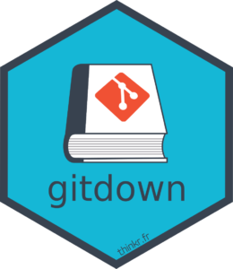 The hex logo of gitdown with a book having the logo of git on it